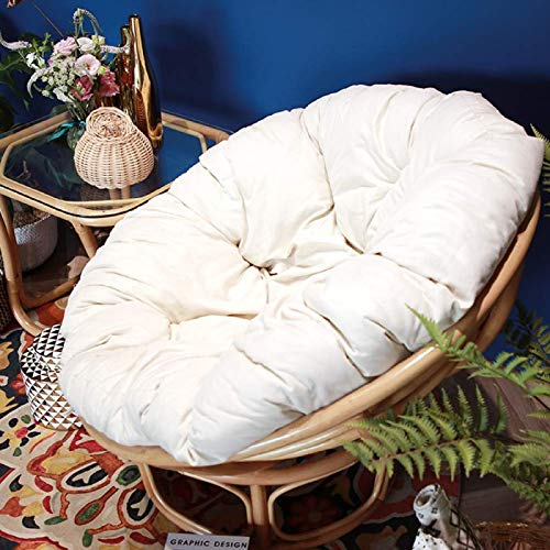 YUNLVC Removable Papasan Chair Cushion Soft Hanging Egg Chair Pads Patio for Round Swing Chair Cushion Garden Outdoor-120cm(47.2 White
