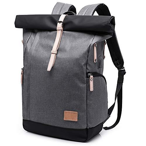 Laptop Rucksack Damen Herren,Roll-Top Rucksack 15,6 Zoll mit USB,Wasserdicht Tagesrucksack Schulrucksack College-Rucksack Backpack (Gray)