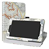 Labanema Lenovo Tab E7 Hülle, 360° Drehbarer Cover Kunstleder Schutzhülle Tasche Etui mit Ständerfunktion für Lenovo Tab E7 (7,0 Zoll) Tablet - Map White