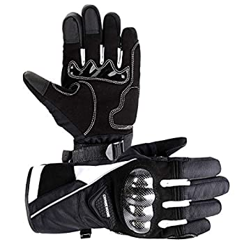 CHANGE MOORE Winter Motorcycle Gloves for Men Women Touchscreen 3M Thinsulate Waterproof Winter Gloves for Riding Snowmobile Skiing Cycling White XL