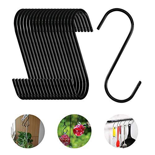 NACTECH 20 Stück S Haken Schwarz S Hängehaken S Form Haken zum Aufhängen Metallhaken S-Form Haken für Küche Pflanzen Jacken Töpfe Tassen