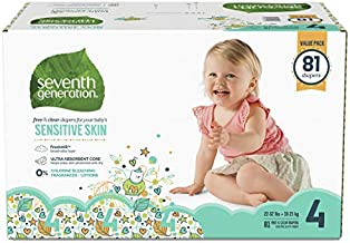 Seventh Generation Baby Diapers for Sensitive Skin, Small Size 4, 81 Count