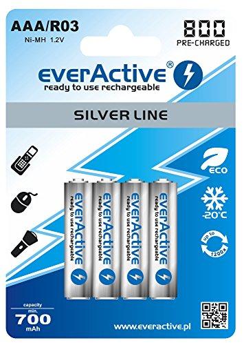 everActive Akku AAA 800 mAh 4 Stück, NI-MH, Micro R03, wiederaufladbar, vorgeladen, Silver Line 1.2V, 1 Blisterkarte EVHRL03-800, Silber