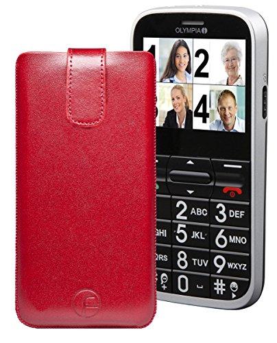 Favory Tasche Leder Etui / OLYMPIA HAPPY / ECHT Ledertasche Hülle Schutzhülle (Lasche mit Rückzugfunktion) rot