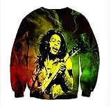 Bob Marley Pullover Ocasionales adelgazan suéter clásico del estilo de la universidad de los hombres y de la personalidad del estudiante jersey suelto suéter perezoso manera de las mujeres sudadera co