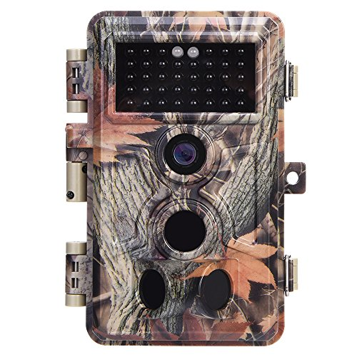Trail Camera 16MP 1080P No Glow Night Vision, Game Camera with 2.4' LCD 120° PIR Sensors, Hunting Camera 0.2S Trigger, Wildlife Camera IP66 Waterproof and Password Protected, Time Stamp & Time Lapse