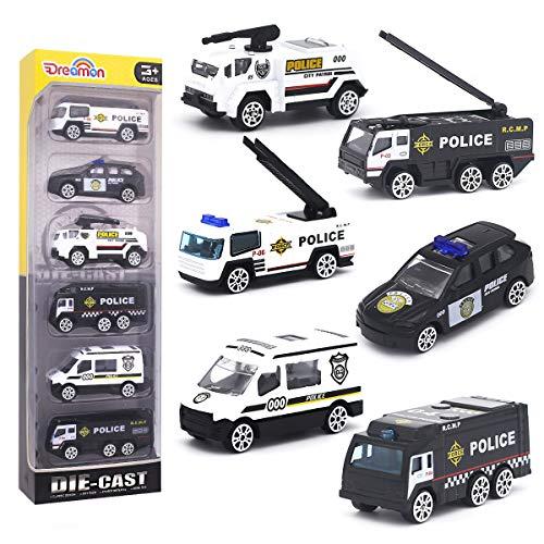 Dreamon Coche de Policia Mini Modelo Construcción Vehículo de Juguete para Niños 3 4 5 años ,Conjunto de 6