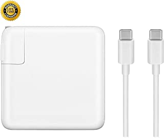 Mac Book Pro Charger, 61W USB-C to USB-C Ac Power Adapter Charger Replacement for MacBook Pro 12 Inch 13 Inch, MacBook Air 2018 - with Type-C Charge Cable (White)