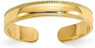 Diamond2Deal - Anello da donna, in oro giallo 14 kt, con grana macinata, regolabile, per dita dei piedi
