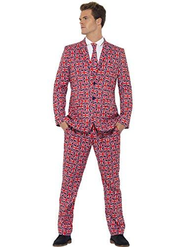 Smiffys, Herren Union Jack Anzug Kostüm, Jackett, Hose und Krawatte, Größe: XL, 43520