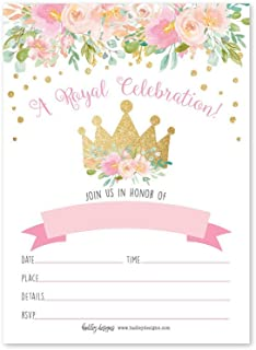 25 Floral Princess Party Invitation, Faux Glitter Royal Queen Little Girl Birthday Invite, Kids Crown Pink and Gold Confetti Themed Bday Supply Idea, Tiara Watercolor Printed or Fill in The Blank Card