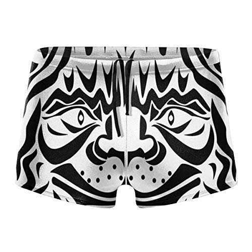 Mens Boxer Swimwear, Ornamental Cats Head Basic Cozy Brief Swimsuit, Comfortable Printed Beach Surf Swimming Trunks Size XL