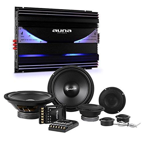 AUNA CS-Comp-8 - Set Impianto Hi-Fi Per Auto, Amplificatore 6 Canali, Set Casse altoparlanti, 2 x subwoofer e 2 x midrange da 1600 Watt, Amplificatore 570 W RMS e 5000 Watt max, Nero