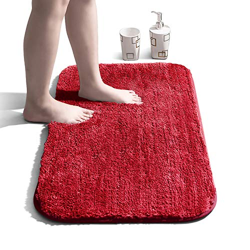 Bathroom Rug Non Slip Bath Mat for Bathroom Water Absorbent Soft Microfiber Shaggy Bathroom Mat Machine Washable Bath Rug for Bathroom Thick...