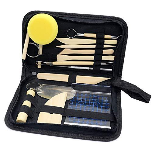 behone 14 piezas Kit de herramientas para modelar arcilla, Polymer Clay Herramientas, Herramientas de cerámica para modelar y tallar, Con bolsa de almacenamiento