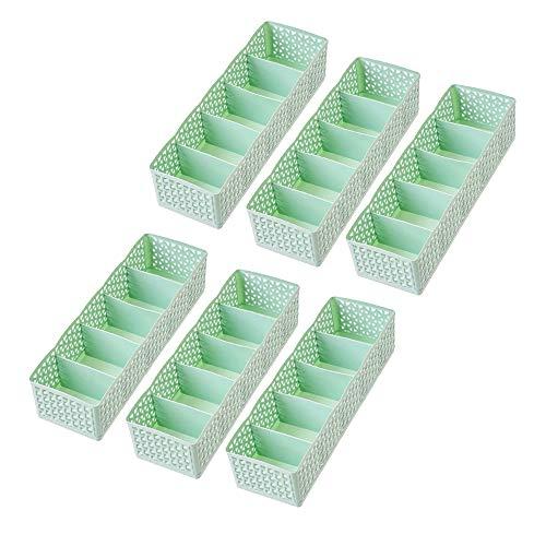 luckiner Caja de almacenamiento de plástico para ropa interior, 6 unidades