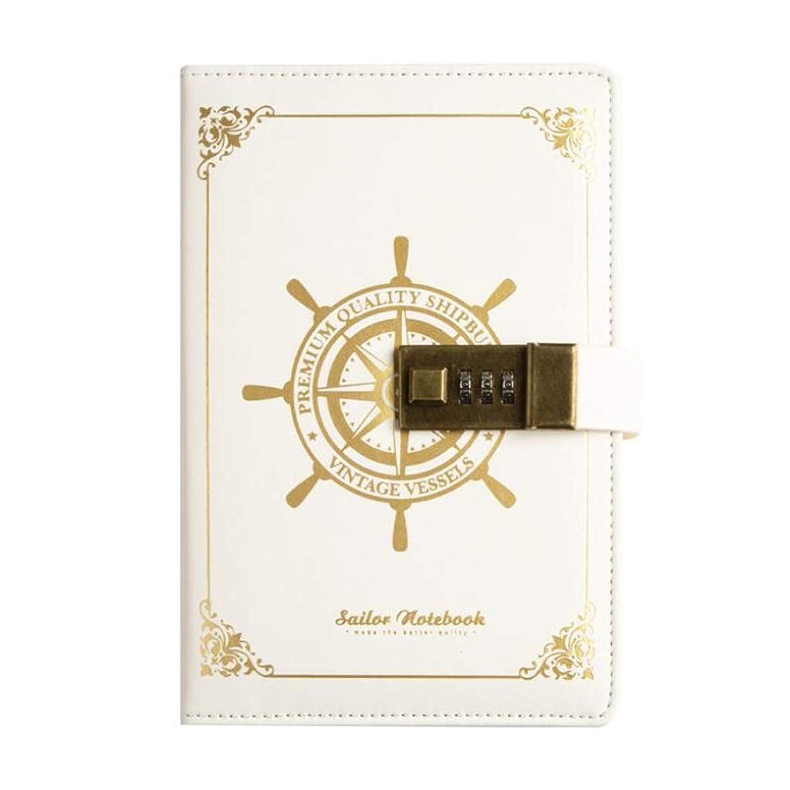 書き込み PUレザーノートブックB6、コンビネーションロック付きメモ帳、秘密の日記オーガナイザー 学生の (Color : White)