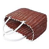 Cabilock - Cesta de la compra de paja tejida, cesta africana, bolsa de playa, bolsa de compra, bolsa de viaje, gran capacidad