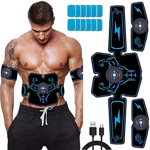 Duang Estimulador Muscular EMS Entrenador deAbdominales Entrenamiento Físico Equipos Toner -USB Recargable Ultimate Stimulator 12PCS Gel de Repuesto Equipo de Entrenamiento Hombresy Mujeres