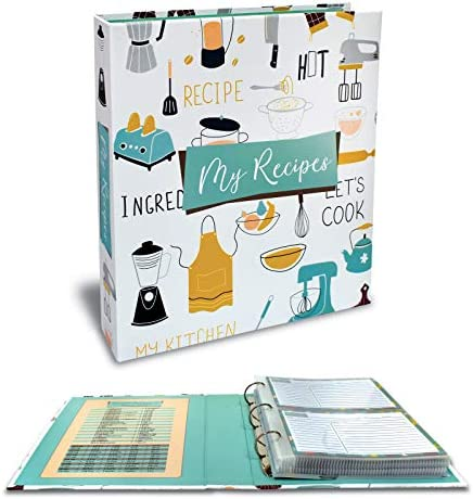 Recipe Binder 8 5 x 9 5 3 Ring Binder Organizer Set with 50 Page Protectors 100 4 x 6 Recipe product image