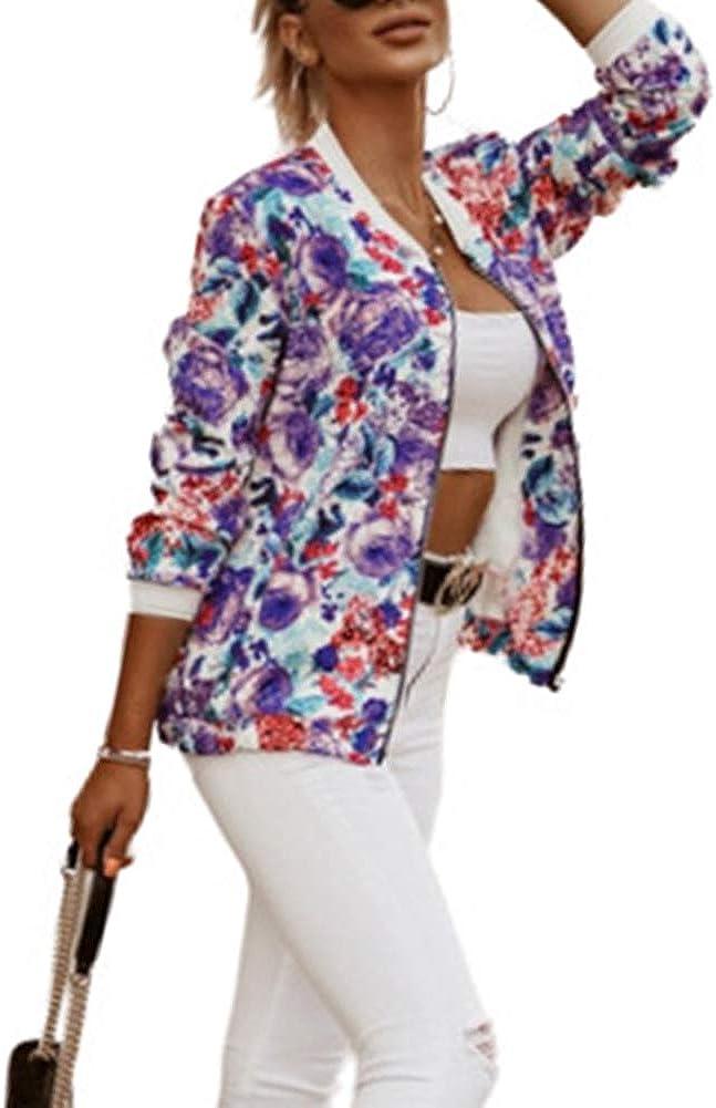 Women's Zip Up Slim Fitting Casual Autumn Print Jackets Short Jackets Coats Outwear