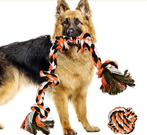 Royal Pets House XL - Juego de cuerda de perro grande con una bola. Masticable fuerte, pesado y duradero para perros con 5 nudos para masticadores agresivos. Bola de 92 cm es de 10 cm
