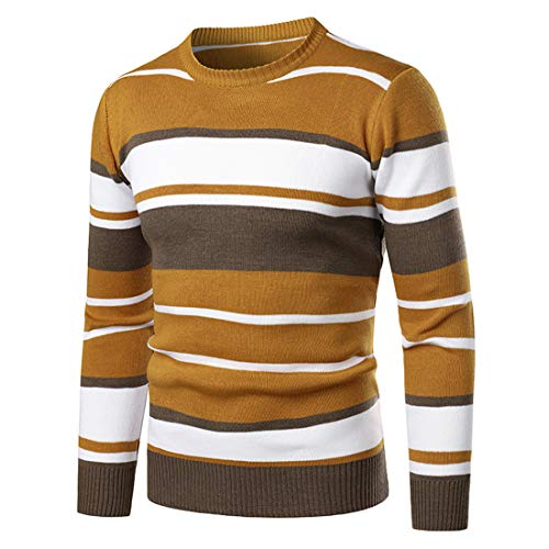 Men Sweater Men Knitted Sweater Round Neck Stripes Fashion Casual Long Sleeves Spring and Autumn Elegant Gentleman Slim Fit Boutique Men'S Pullovers Yellow. M