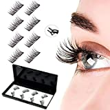 2021 Upgraded No Glue Dual Magnetic Eyelashes Lightweight & Easy to Wear, Natural Reusable Magnet Lashes Extensions with Tweezers (2 pairs)