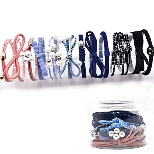 Set di elastici per capelli, elastici per capelli 12PCS con scatola di plastica, carino elegante capelli elastici per ragazze donne, elastici per capelli, elastici per capelli Bobbles