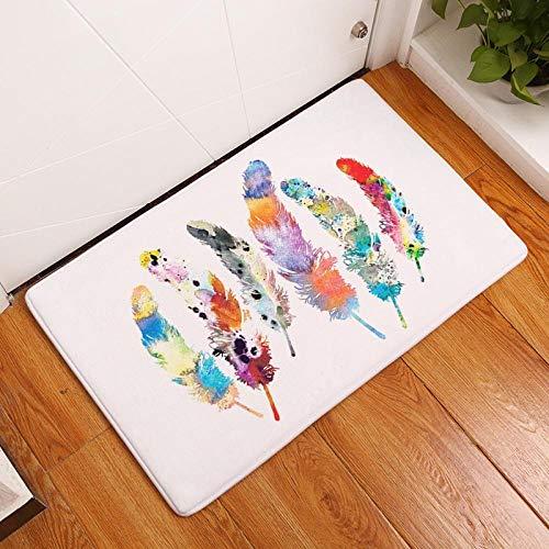 Alfombrilla de suelo de PVC con diseño de pluma de impresión digital para baño o dormitorio, duradera y absorbente, estilo 1_40 x 60 cm.