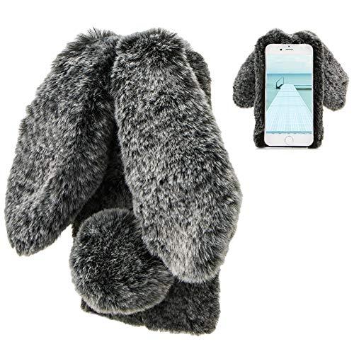 LCHDA Rabbit Funda para iPhone 6 Plus,Conejo Piel Conejito Oído Caso para Muchachas Linda Invierno Cálido Suave Peludo Bola Mullida Piel Pelo Felpa Protectora TPU Funda para iPhone 6S Plus-Negro