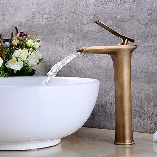 Grifo de lavabo de cascada antiguo Todo bronce Continental Lavabo sobre encimera debajo del escenario Lavabo artístico de un solo orificio Grifo de agua caliente y fría Vintage(Color:Dorado,Tamaño:Cor