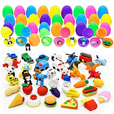 36 Pcs Pre Filled Easter Eggs with Mixed Puzzle Erasers Including Animal, Dinosaur & Vehicle Erasers, Pencil Erasers Filled Eggs for Kids Easter Eggs Hunt, Easter Basket Stuffers, Easter Party Favors from Joyin, Inc.