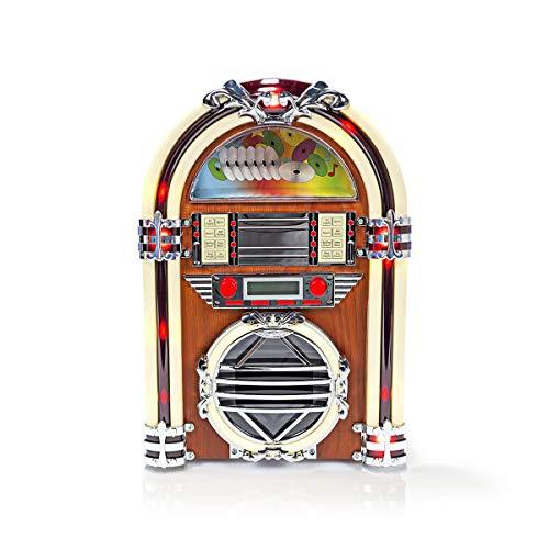 NEDIS FM-Radio Retro Tischradio-Jukebox - Mit Eingebauten Lautsprecher - Analogues Tuning - UKW/AM-Radio und CD-Player - 3 W - Vertikale CD-Fach an der Vorderseite - Braun Braun 1.50 m