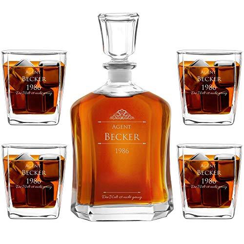 Murrano Whiskey Karaffe + 4er Whiskygläser Set mit Gravur - 700ml Whisky Dekanter - Geschenk zum Geburtstag für Männer - Agent