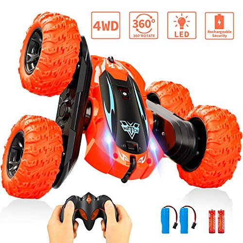 Remote Control Car, Electric Race RC Stunt Car(Orange), Double Sided 360°Flips Rotating Vehicles with LED Headlights, High Speed Off Road Truck Kids Toys for 5 6 7 8-12 Year Old Boys Teens Adults