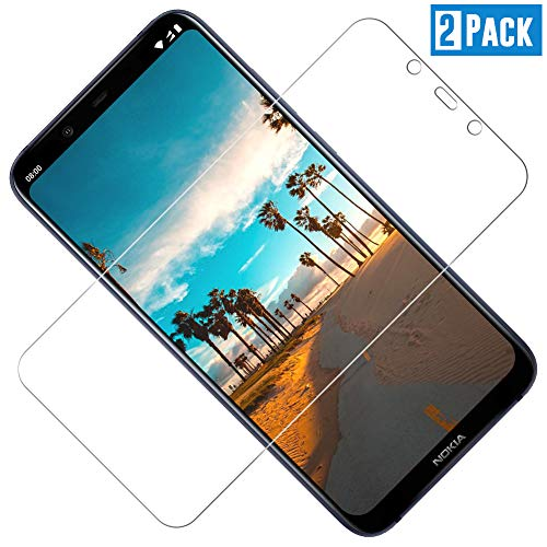 TOIYIOC [2 Stück] Panzerglas Schutzfolie für Nokia 8.1, 0.30mm Ultra-klar Folie Panzerglasfolie, Bildschirmschutzfolie Glas kompatibel Nokia 8.1