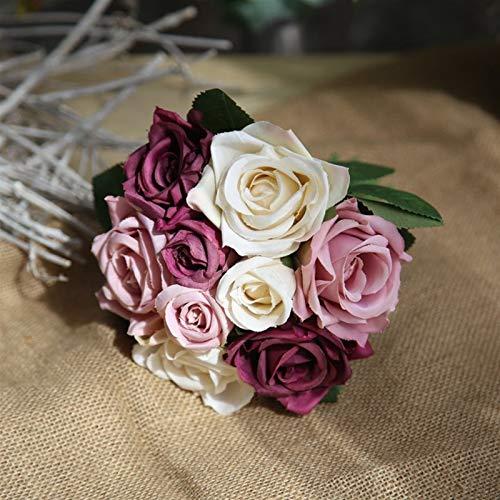 SJHQ Flor Preservada Sosteniendo Flores Rosa Flor Artificial Muebles para el hogar Festival Fiesta simulación decoración Flores secas Plantas para Bodas Flor Artificial (Color : Gray)