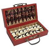 JVSISM Caja de Cuero de Madera China con 32 Piezas de Terracota Figura Juego de Ajedrez Entretenimiento Damas Ajedrez Juegos Tradicionales