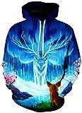 ZJIIXON Impresión de suéter 3D,Jersey Hippie Suelto Azul de Dibujos Animados con Capucha atlético Informal con Bolsillos Uniforme de béisbol para Pareja para Estudiante Abrigo Superior-As_Shown_3XL