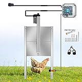 SEAAN Apriporta Automatico per Pollaio - Telecomando e controllo con timer, Porta per polli in metallo per impieghi gravosi / Porta anti-pop resistente ai predatori, Antipioggia all'aperto (12V DC)