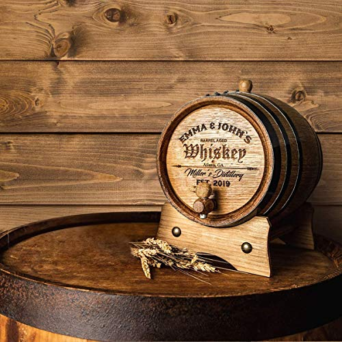 Personalized - Customized American White Oak Aging Barrel - Barrel Aged (5 Liters, Black Hoops)