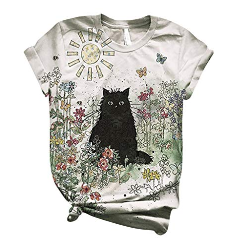 Fantastic Prices! Toimothcn Cute 3D Animal Printed Tops Plus Size Shirts Women Short Sleeve Tunic To...