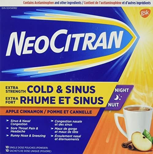 NeoCitran Extra Strength Cold & Sinus Apple Cinnamon Flavour Hot Liquid, 10 Count