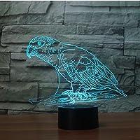 YPDWYJL 3D子供用ランプオウム動物鳥LED常夜灯寝室の雰囲気ランプベッドサイドランプ16種類の色が変わるホリデーギフト