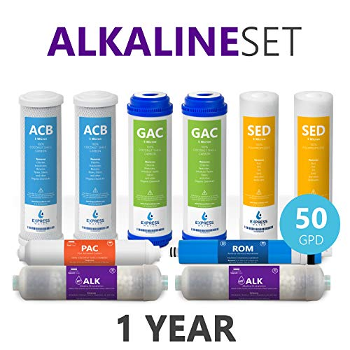 Express Water FLTSETALK105Q 1 Year Alkaline Reverse Osmosis System Replacement Set 10 Filters with 50 GPD RO Membrane, 10 inch Size Water, White