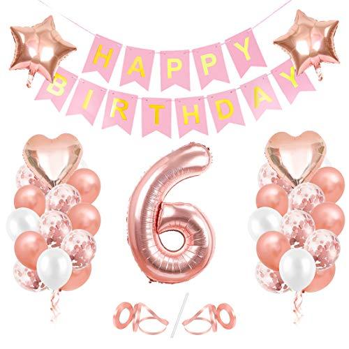 Globos de Cumpleaños 6 año, 6 Oro RosaDecoraciones, Pancarta de Feliz Cumpleaños, Decoración de Cumpleaños para 6 Niña, Globos de Confeti y Aluminio Oro Rosa, Fiesta Regalos para Niña y Mujeres y Bebe