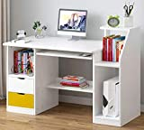 GORVELL Computer Desk with 2 Drawers Shelves Storage Cabinet,Home Office Writing Study Laptop PC...