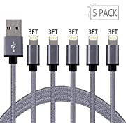 Loopilops iPhone Fast Charger, MFi Certified Lightning Cable 5 Pack [3 FT] Nylon Braided USB Charging & Syncing Cord Compatible with iPhone Xs/Max/XR/X/8/8Plus/7/7 Plus/6S/6S Plus/iPad and More