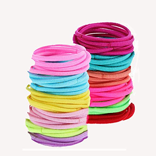 Small Hair Ties for Child Girl, Elastic Hair Bands 100 Pcs Rubber Hair Ties for Child,Ponytail Holder for Girls, Little Girls' Small Hair Ropes, Elastic Hair Tie Toddler Set for Girls (3mm, Rainbow)